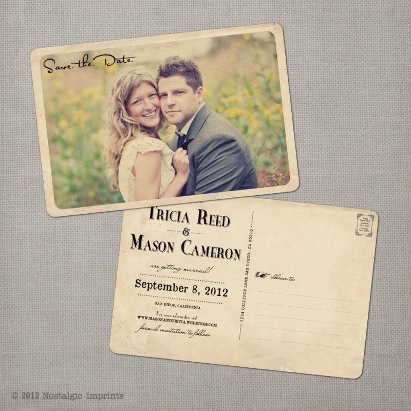 Beautiful Save the Date Wedding Postcard Custom Designs - DuoParadigms ...