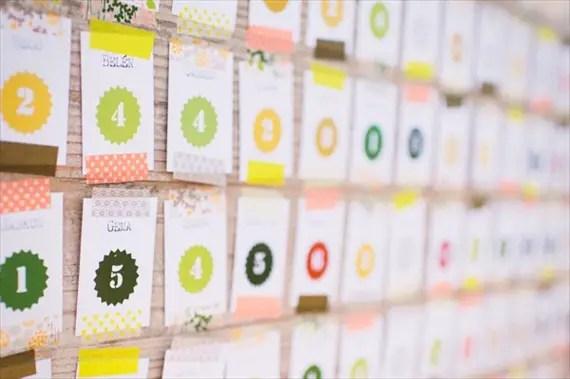 washi tape escort card display via DIY Washi Tape Ideas