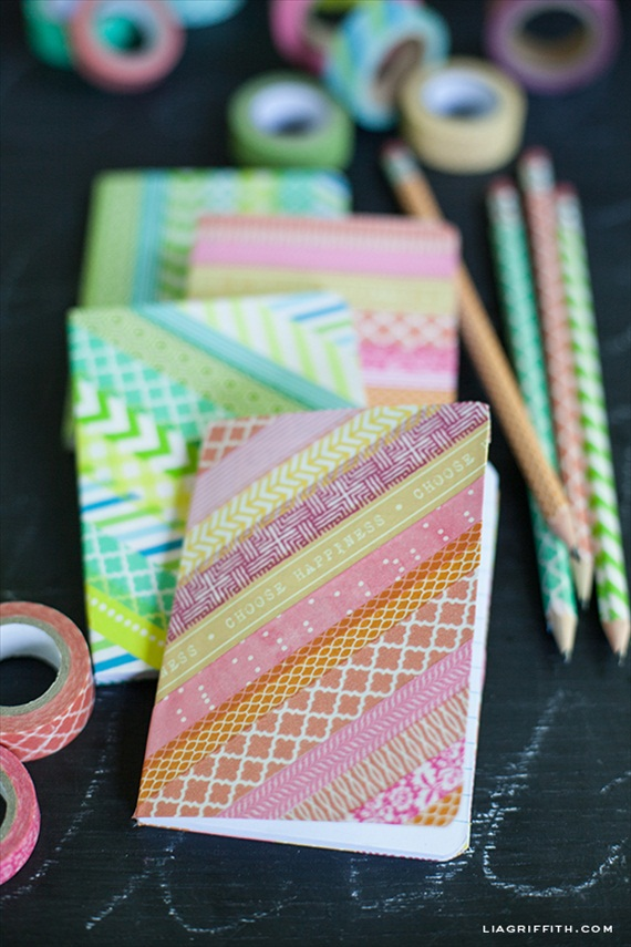 washi tape notebooks pencils via DIY Washi Tape Ideas