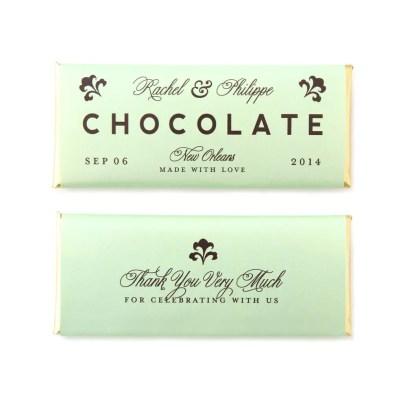 personalized candy bar favors chocolate fleur de lis
