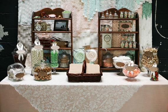 DIY Wedding Ideas: wedding candy buffet | photo by Meghan Christine Photography
