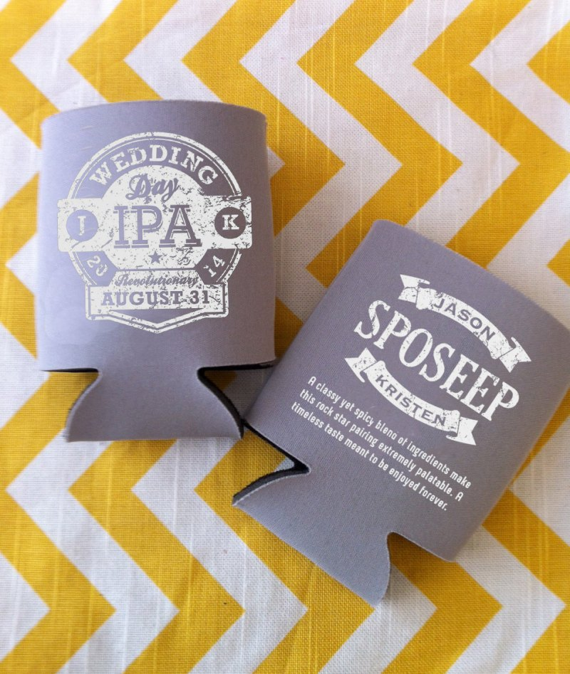 wedding day ipa koozie | via Beer Tasting Couples Shower http://emmalinebride.com/shower/beer-tasting-couples-shower/