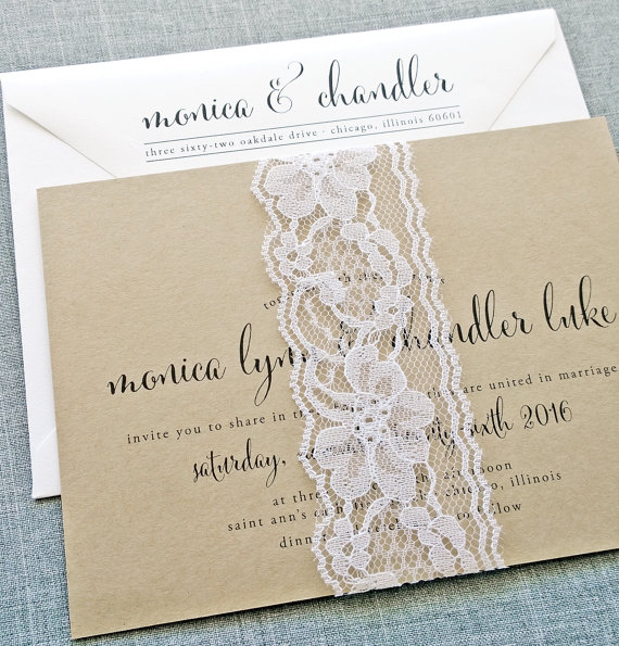 wedding invitation with lace - wedding invitation credit + robe giveaway
