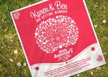 wedding invitations printed on tea towels