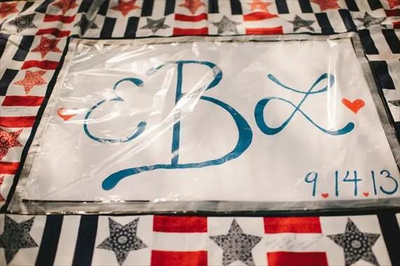 Americana wedding:  guest book quilt (photo: michelle gardella)