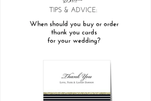wedding tips - when to buy or order thank you cards for weddings