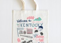 Illustrated Welcome to Kentucky Tote Bag | What to Put in Wedding Welcome Bags | http://emmalinebride.com/planning/wedding-welcome-bags/
