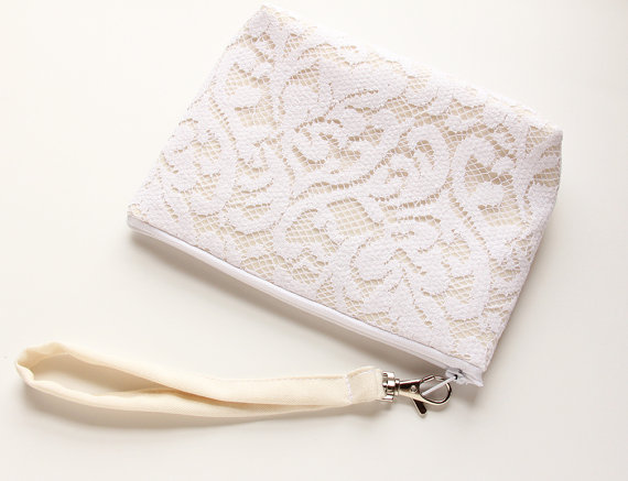white lace wristlet by Good Marvin | via 5 New Handmade Wedding Finds - Emmaline Bride http://emmalinebride.com/marketplace/