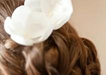 white rosebud hair pins