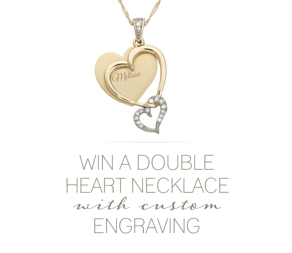 win a double heart necklace