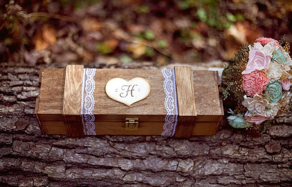 monogrammed wine box - wine themed wedding ideas