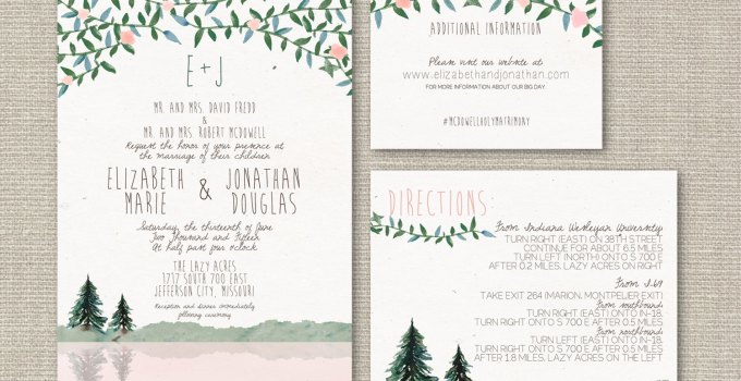 Pine tree wedding invitations | by Splash of Silver