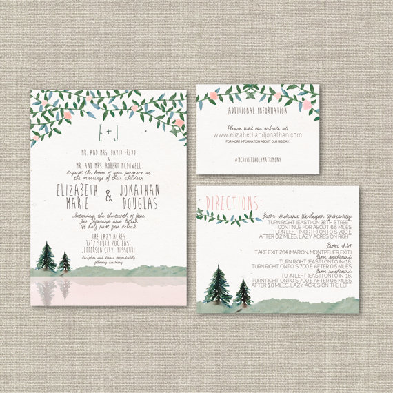 woodland wedding invitation suite by splash of silver | via 5 New Handmade Wedding Finds - Emmaline Bride http://emmalinebride.com/marketplace/
