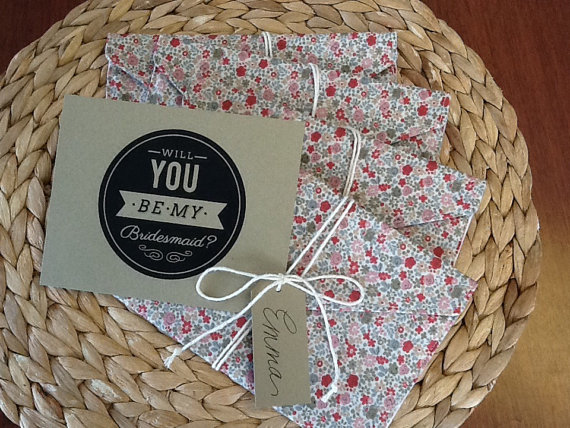 wrapped in fabric be my bridesmaid card