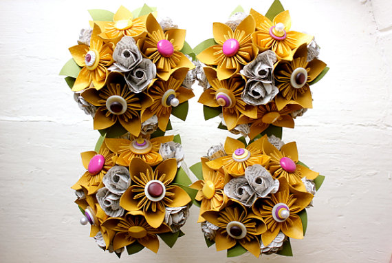 yellow paper flower bouquets