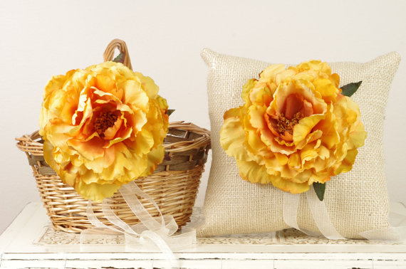 yellow peony burlap ring pillow and matching flower girl basket