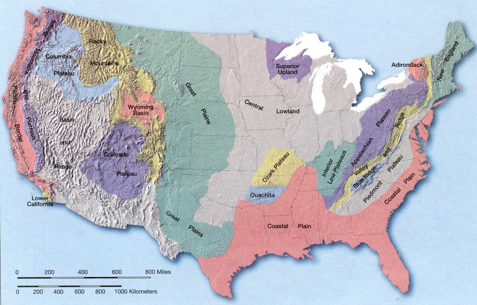 United States Map With Capitals And Landforms - Map of us landforms