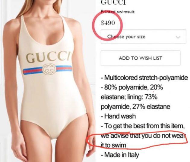 CURIOSO: Gucci crea un traje de baño de usd 380 que no sirve para nadar