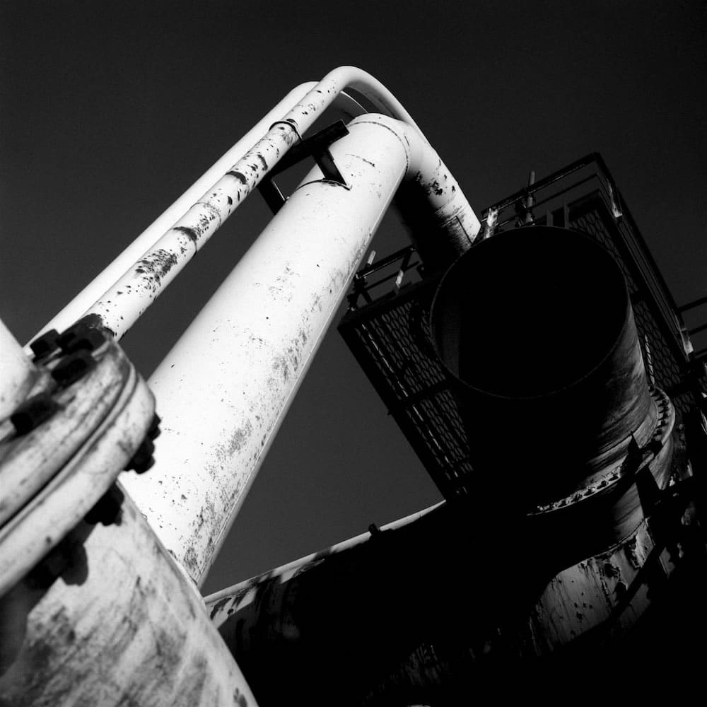 Pipework at Steelworks: Bronica SQAi, 80mm; f8 at 1/125s on Ilford HP5 with Red Filter