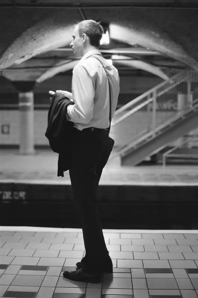 """Commuter"" Ilford Delta 400 - Journal Square, Jersey City, NJ"