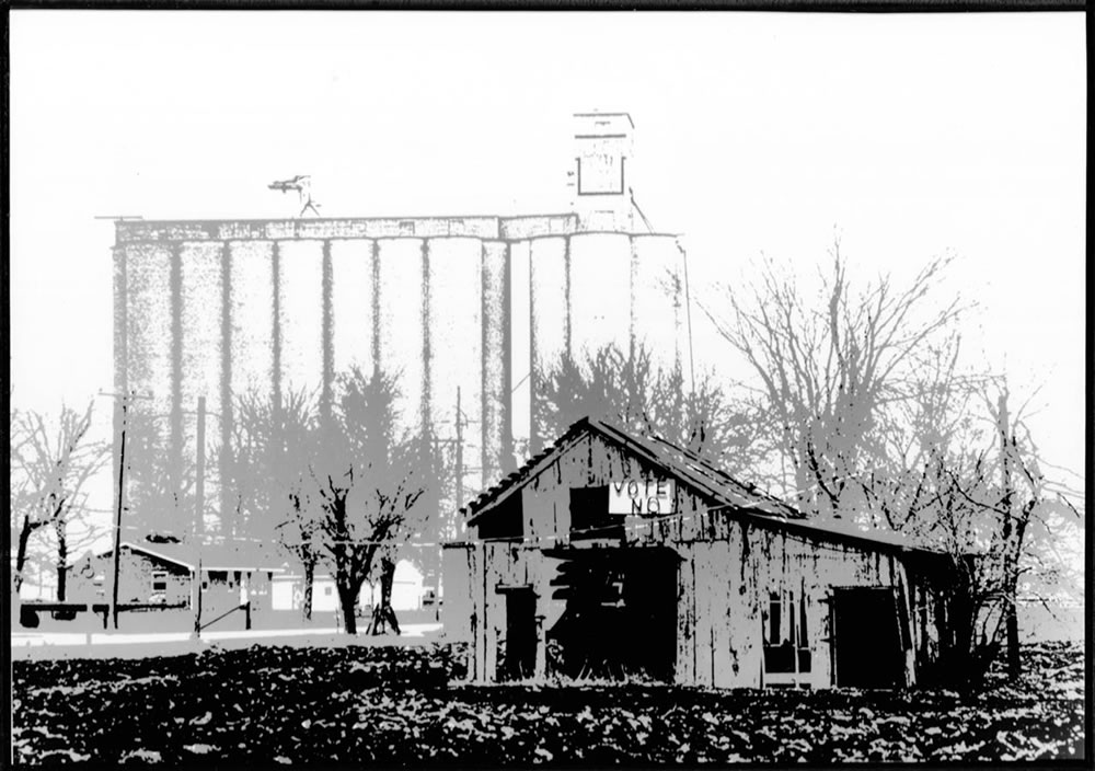 "Kodak Tri-X, 35mm, Miranda DR, Darkroom Posterized Print from ""Forgotten But Not Gone"", Barn and Elevator Near Eureka Illinois, ca 1965"