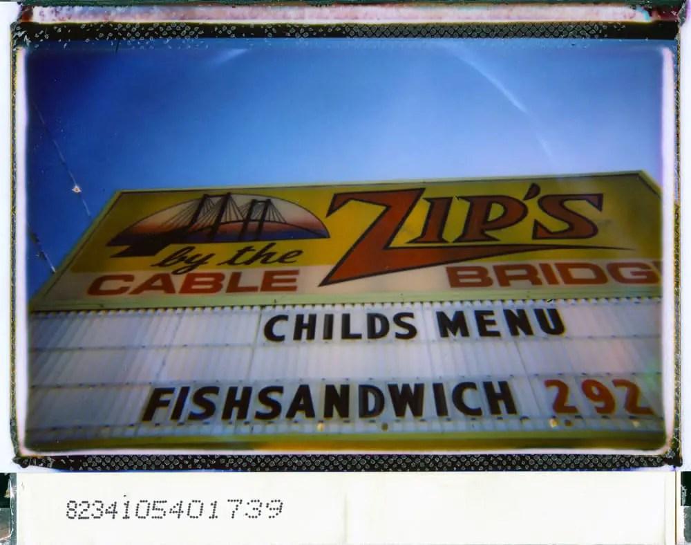 """Zip's,"" Lomo'instant wide camera, Fuji Instax film, borders scrapped"