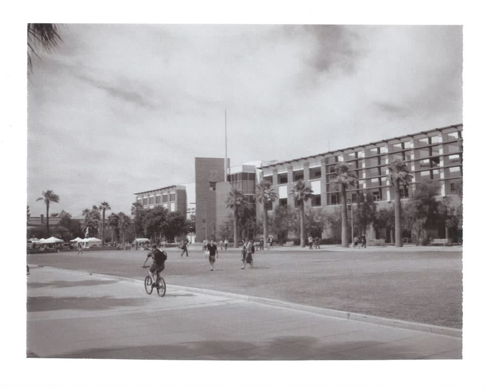 Students on the way to class, Polaroid Automatic 100 Land Camera, Type 667 Packfilm