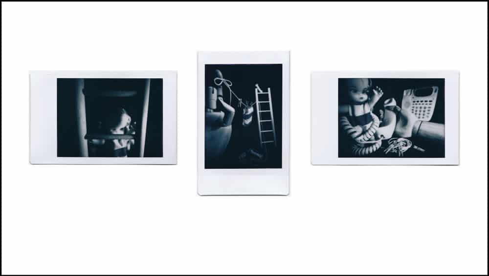 Photographer: Ross, Togashi Award: Best use of a non-native Instax camera Title: FIlm noir: a pinhole triptych Location: Honolulu, Hawai'i, USA Camera: Self-made pinhole camera, using Lomography Diana Instant Film Back and Debonair toy camera