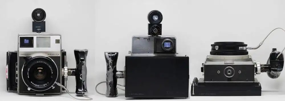 Mamiya Universal Press with Type-2 Polaroid instant film back and 50mm f/6.3 lens with accessory viewfinder