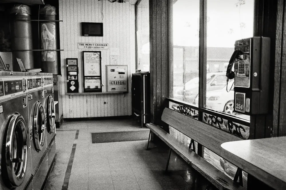 Laundromat - Payphone in a Laundromat. Hollywood, CA. Canon EOS-3, Kodak T-MAX 400.
