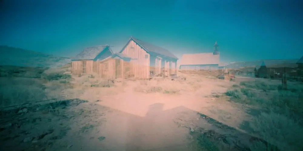 Ghost town - Shot on Fuji Pro 160NS at EI 100 - Color negative film in 120 format shot as 6x12. Push processed one stop.