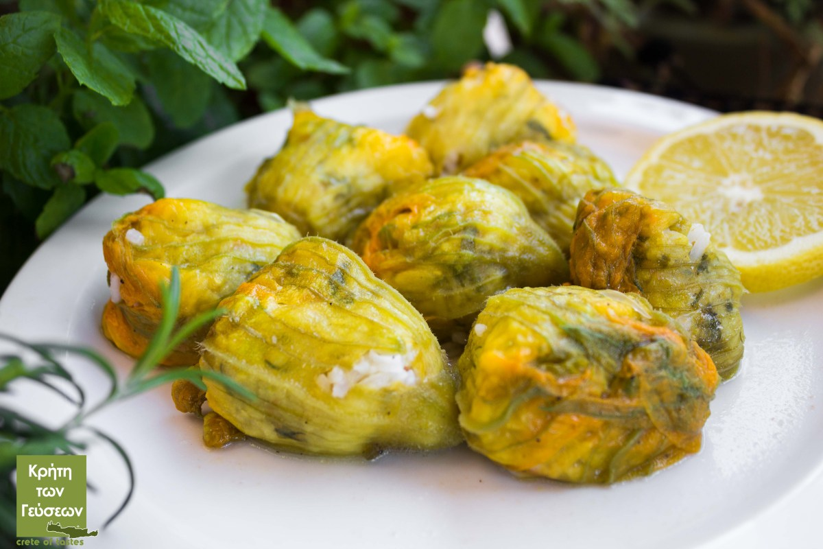 Zucchini blossoms stuffed with rice and crushed wheat