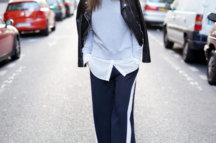 Contrasting strips trousers x Mules by @New Look