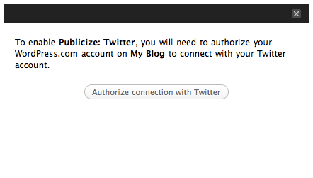 Publicize: Twitter authorization message