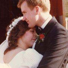 A quiet moment on our wedding day - 27 years ago!