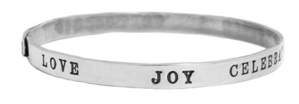 Nelle and Lizzy Words to Live By Encouragement Silver Bracelet