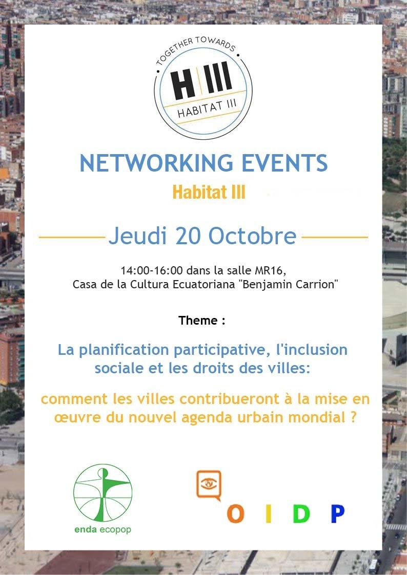 enda ECOPOP/ OIDP : Networking le 20 Octobre à Quito HABITAT III