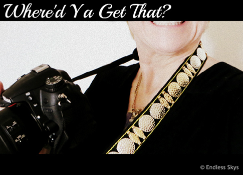 Do it yourself bedazzled camera strap.