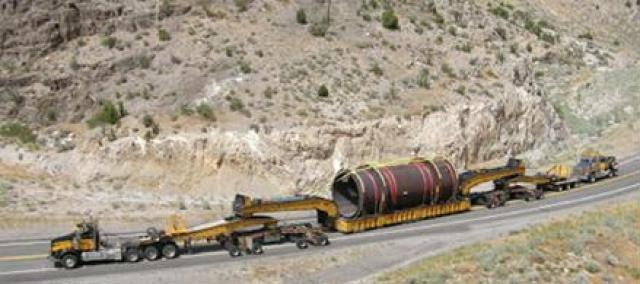 570,000 pound vehicle carrying an electrical anode used in the copper refining process. It was subjected to a bridge analysis, but not to a pavement analysis. It traveled from Nevada to Miami through Arizona