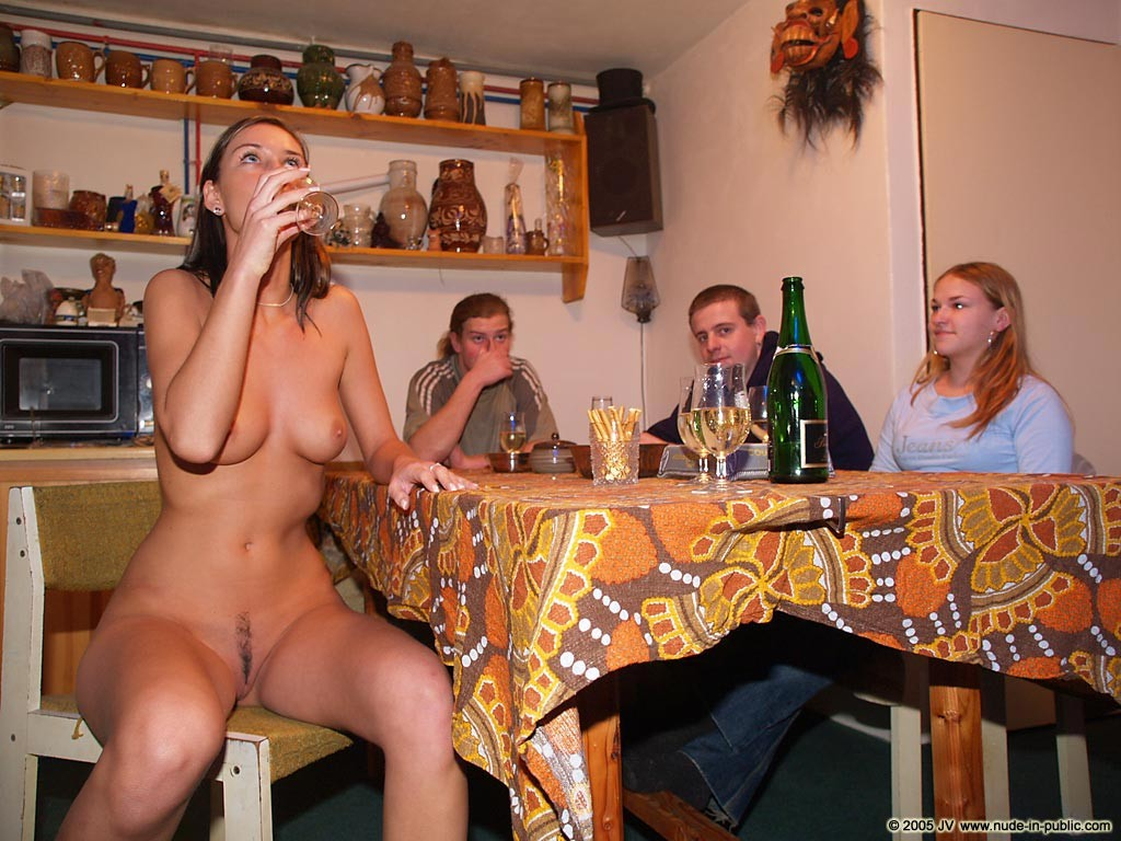 nude women at dinner party photos