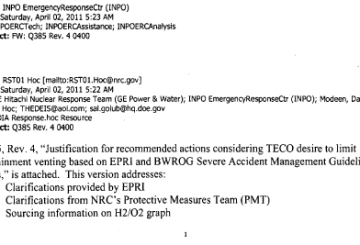 April 2nd, 2011 - Justification for recommended actions considering TEPCO desire to limit containment venting based on EPRI and BWROG Severe Accident Management Guideline Basis