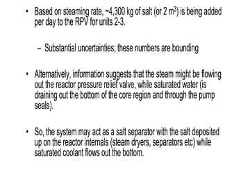 March 23rd, 2011 - Over 9,000 lbs of salt added each day to reactor pressure vessels of Fukushima Daiichi Unit 2 and Unit 3