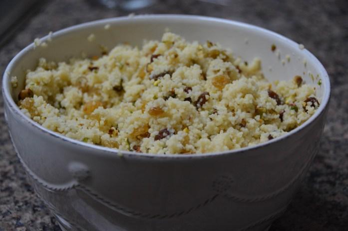 The pistachio and golden raisin couscous