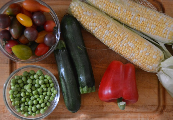 The array of fresh vegetables