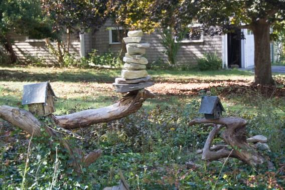 Rock birdhouses