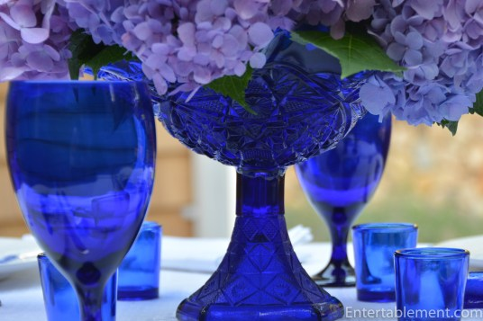 Cobalt blue Mosser ruffled edge compote.