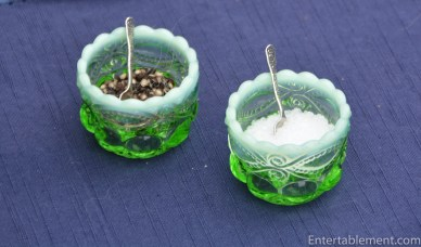 Green Glass Open Salt - these come in several colours