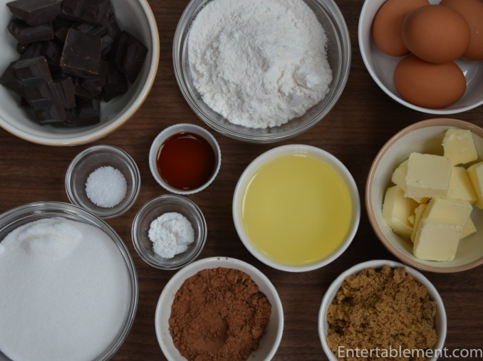 Gather the ingredients for the brownie base