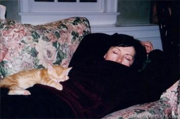 Tigger snoozing with Mum