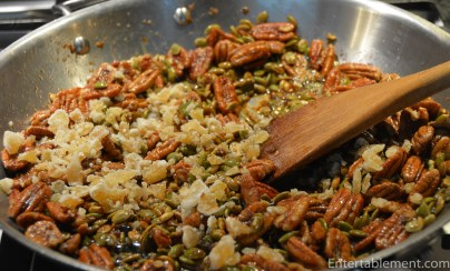Add the brown sugar to the browned nuts